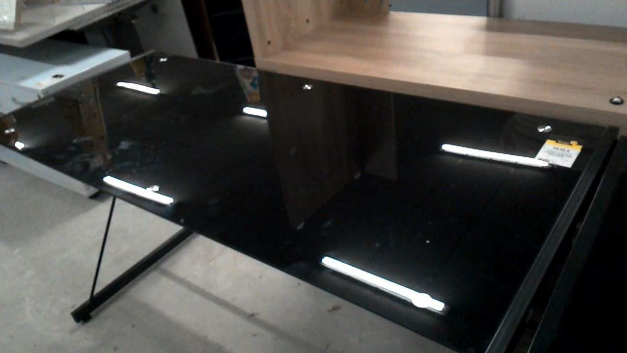 Bureau moderne plateau verre noir pieds metal d occasion troc